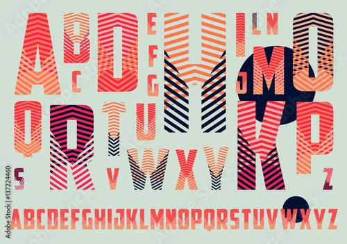 alfabet z wzorem paski skrzyżowania w kolorze czerwonym i niebieskim