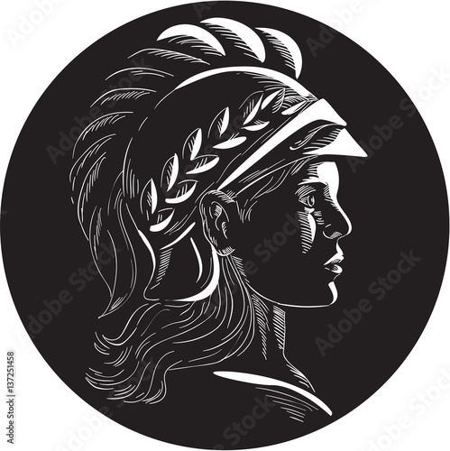 Wallpaper Mural Minerva Head Side Profile Oval Woodcut