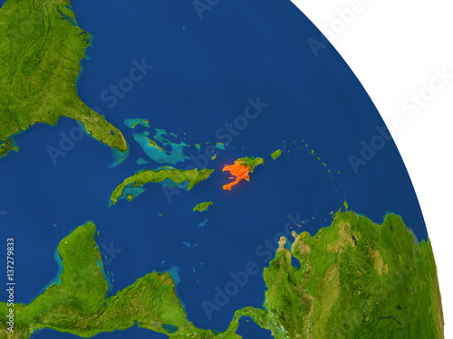 Fotografiet Map of Haiti in red