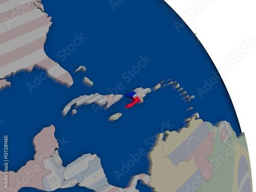 Canvastavla Haiti with flag on globe
