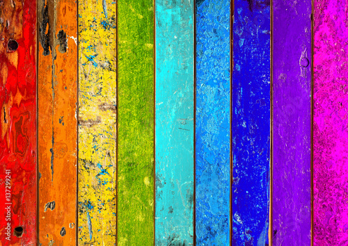 colorful vibrant rainbow wooden planks background texture pattern / holz hinterg Fotobehang