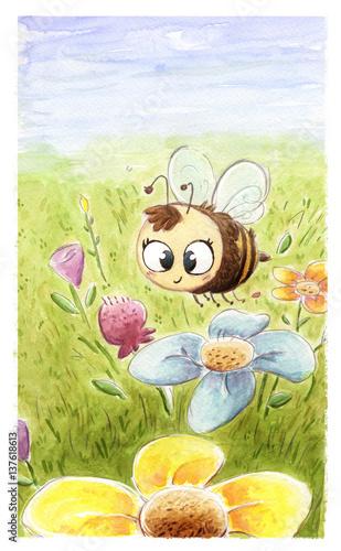 Pszczoła w polu kwiat