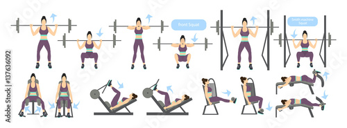 Leinwand Poster Legs workout for women with machines