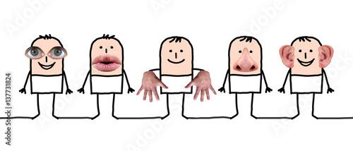 Fotografiet Cartoon characters and five senses