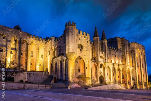 Canvas Print Le Palais des Papes à Avignon la nuit, dans le Vaucluse en Provence, France
