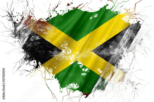 Wallpaper Mural Grunge old Jamaica  flag