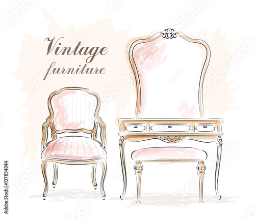 Fotografiet Stylish vintage furniture: dressing table with mirror and chairs