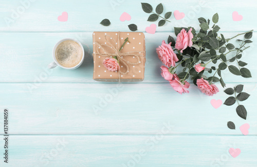 Roses with coffee cup and gift box for Mothers day