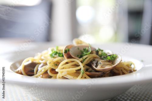 Vászonkép Spaghetti Vongole , spaghetti with clams and Chilli