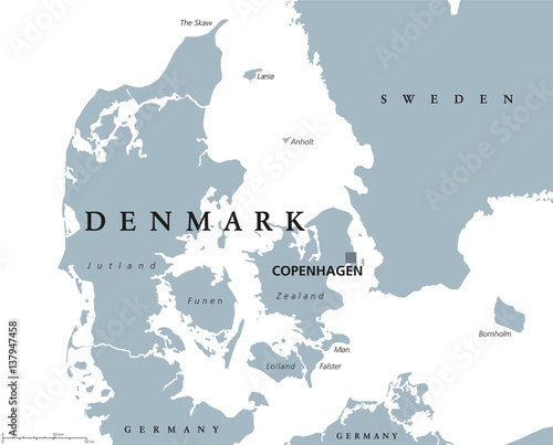 Photo Denmark political map with capital Copenhagen and neighbor countries