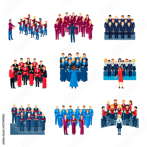 Fotografia Choir Singing Ensemble Flat Icons Collection