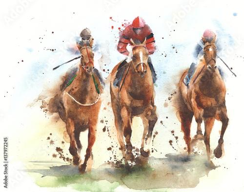 Fényképezés Horse racing race riding sport jockeys competition horses running watercolor pai