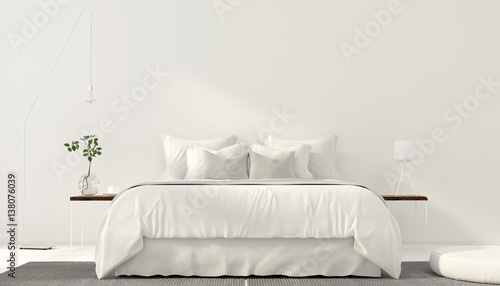 Fényképezés Minimalistic interior of white bedroom