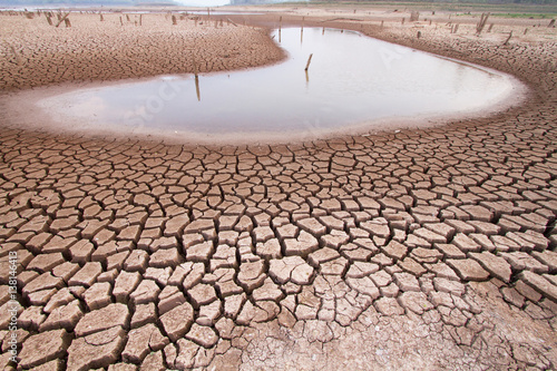 Photo Climate change drought land and water in lake