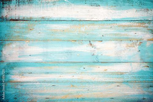 Fototapeta vintage beach wood background - old blue color wooden plank