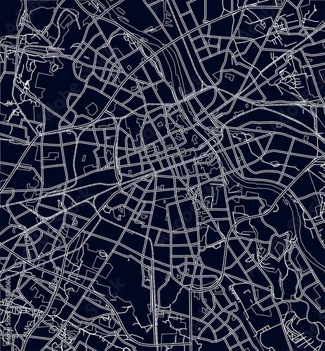 Fotografie, Obraz Black and white scheme of the Warsaw, Poland. City Plan of Warsaw