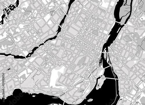 Obraz na plátně Black and white scheme of the  Montreal, Canada