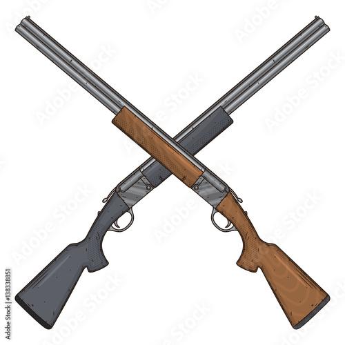 Obraz na płótnie Two crossed shotguns, vector illustration isolated on white background