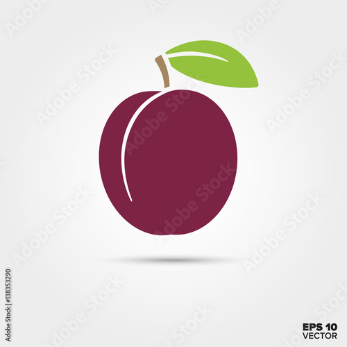 Canvas Print Prune or plum fruit with leaf vector icon