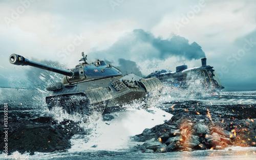 Fotografia Soviet battle tank on the background of the burning locomotive attacked