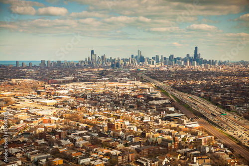 Canvas Print Aerial view of Chicago, Illinois