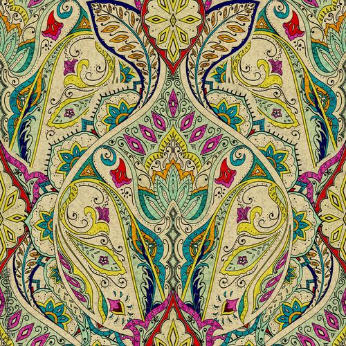 Indie bez szwu paisley wzór, dekoracyjne obramowanie do tekstyliów, zawijanie, wystrój. Czeski design