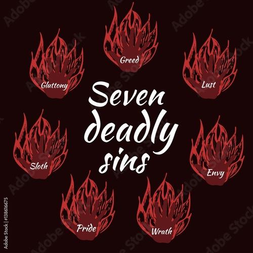 Fotografie, Obraz Seven deadly sins. Bible. Vector illustration