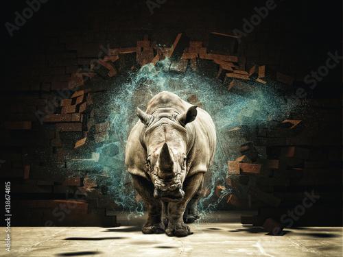 Fototapeta premium nosorożec zniszczyć ceglany mur 3d renderowania obrazu