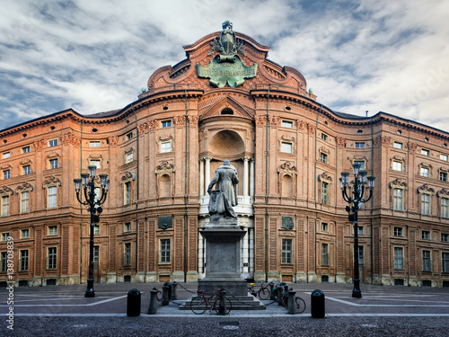 Fototapeta Piazza Carignano, one of the main squares of Turin (Italy) with Palazzo Carignan