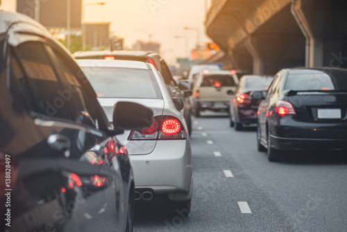 Fototapeta traffic jam with row of car