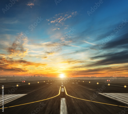 airport runway in the evening sunset light