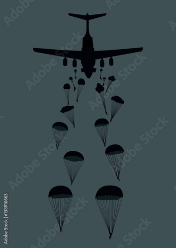 Canvas Print Illustration of a military plane and paratroopers.