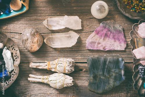 Natural rocks and white sage