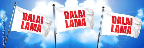 Foto the Dalai lama, 3D rendering, triple flags