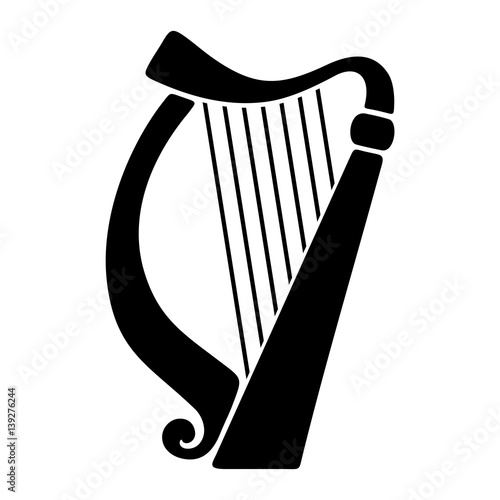 Canvas Print Vector black silhouette of a harp isolated on a white background.
