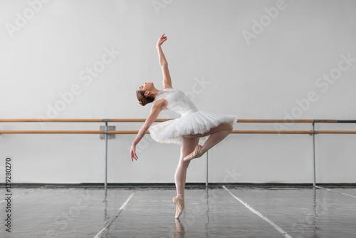Female ballet dancer keep the rack in class Poster Mural XXL