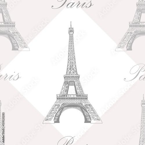 Naklejki na meble - Wzór retro z wieżą Eiffla
