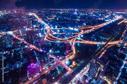 Night traffic transport circle junction road