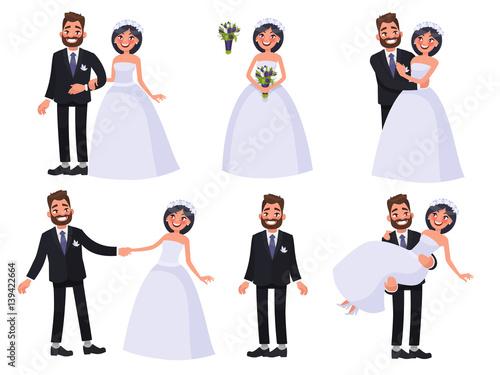Set of characters bride and groom Fototapete