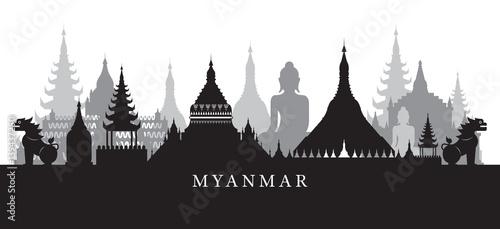 фотография Myanmar Landmarks Skyline in Black and White Silhouette, Cityscape, Travel and T