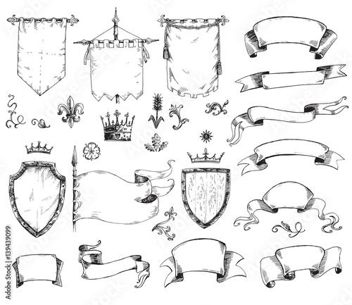 Tela Vector hand drawn collection of heraldic templates: shield, flag