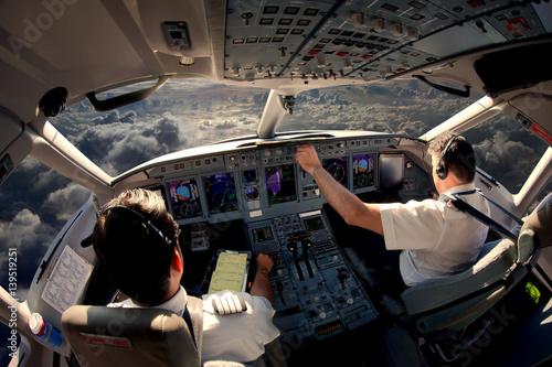 Fotografie, Tablou Flight Deck of modern passenger jet aircraft