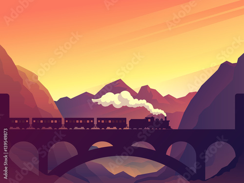 Canvas Print Train on railway bridge with outdoor landscape