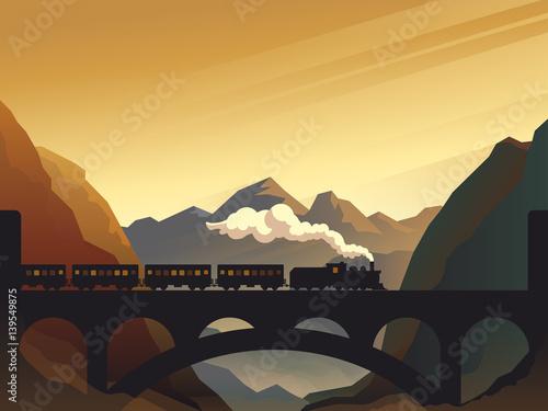 Photo Train on railway bridge with outdoor landscape