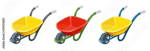 Photo Wheelbarrow. Gardening tools. Barrow with one wheel