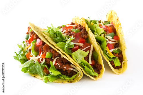 Traditional Mexican tacos with meat and vegetables, isolated on white background