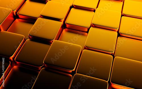 Fototapeta premium Złocisty abstrakcjonistyczny wizerunek sześcianu tło. Renderowania 3d