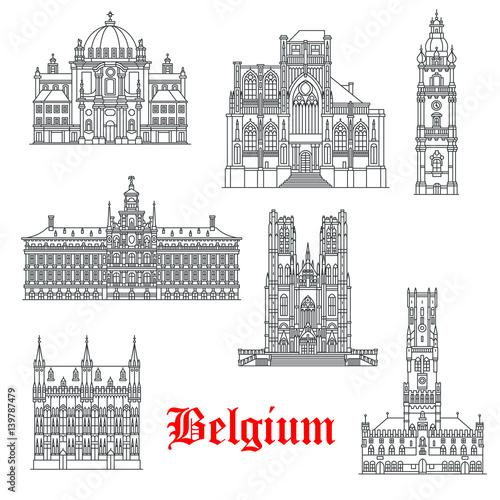 Architecture buildings of Belguim vector icons Tapéta, Fotótapéta