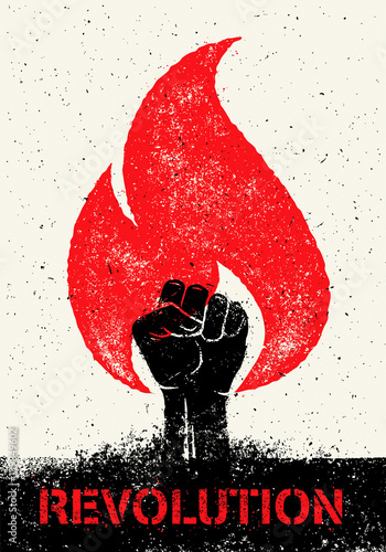 Stampa su Tela Revolution SocialProtest Creative Grunge Vector Concept on Rough Grunge Backgrou