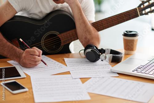 Fotografie, Obraz Man working on song
